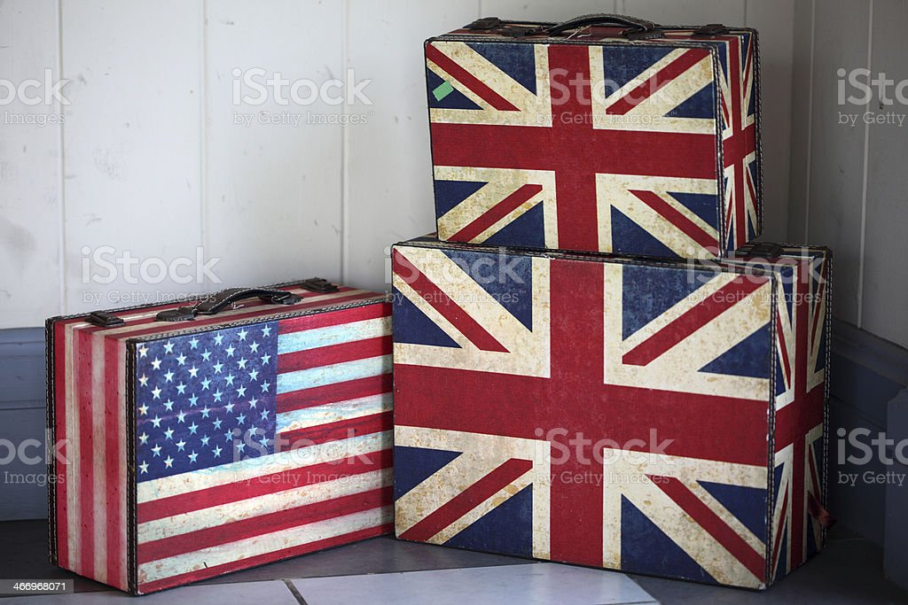 flag on a suitcase for travel. royalty-free stock photo