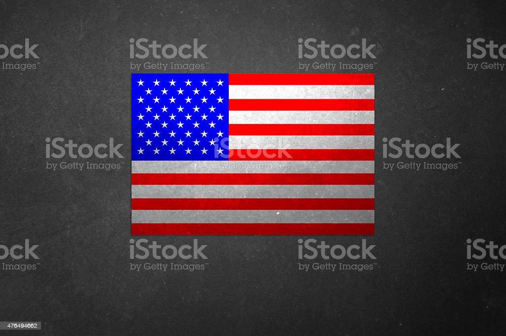 U.S. Flag on Blackboard stock photo