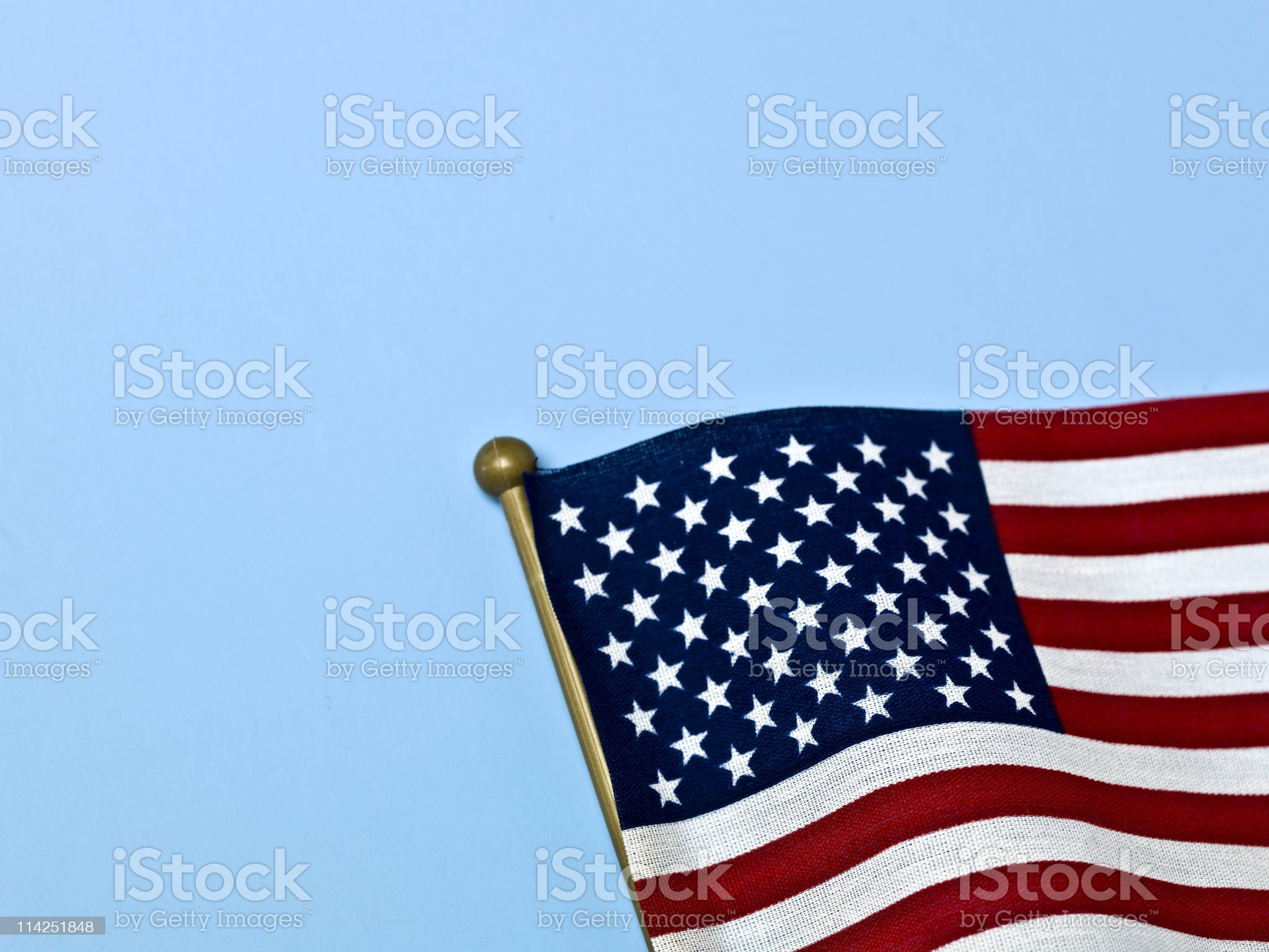 US flag on blue royalty-free stock photo