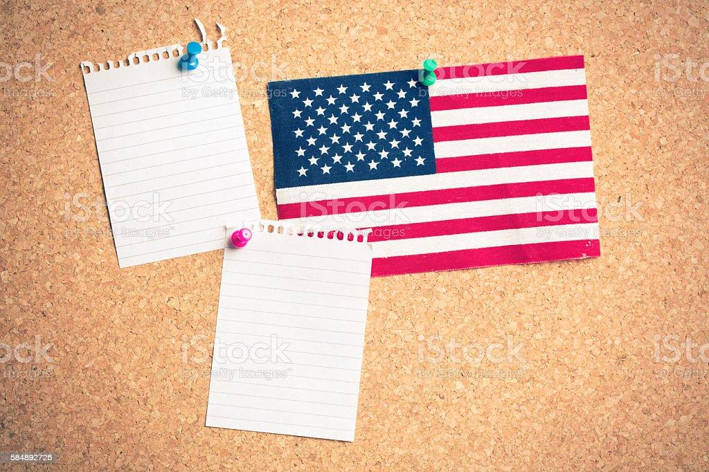 U.S. flag on board stock photo