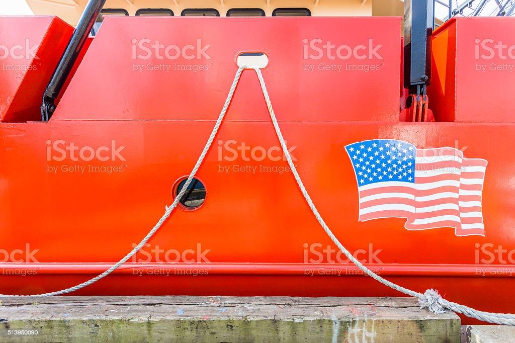 Flag on Boat stock photo