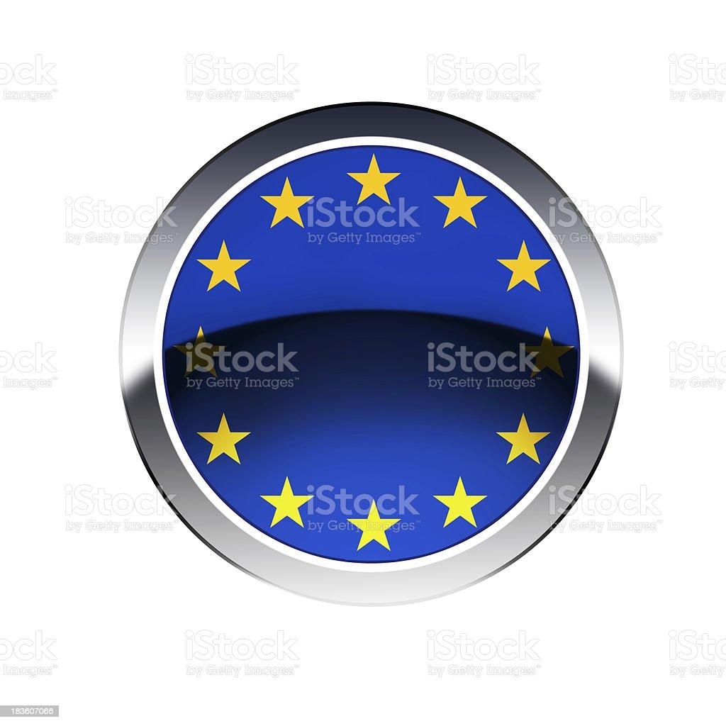 EU flag  on button royalty-free stock photo