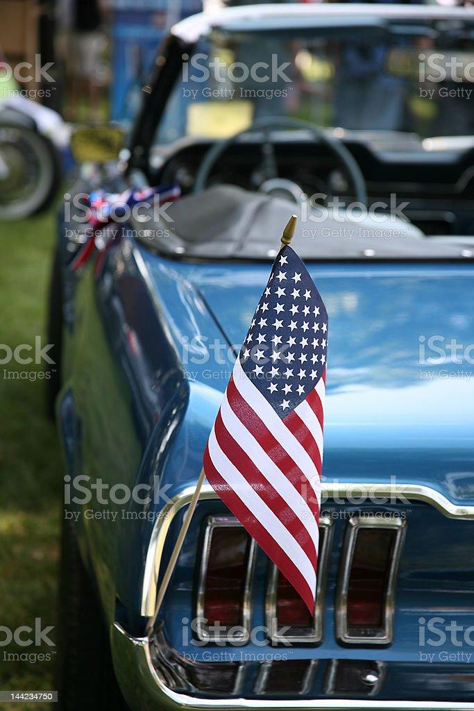 USA Flag on Car stock photo