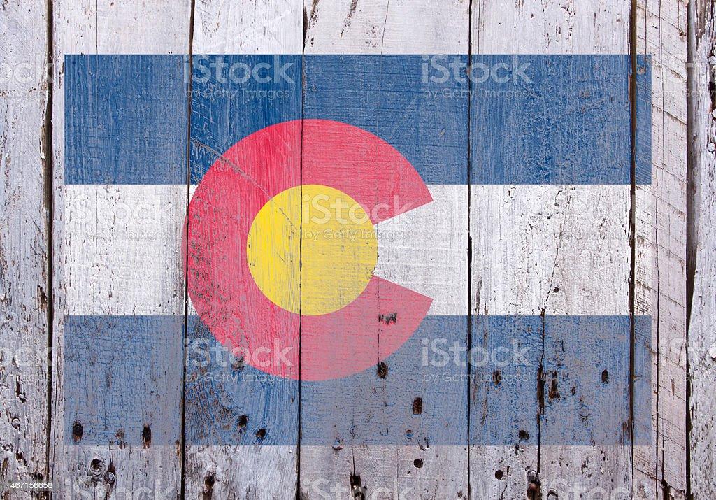 Flag on Colorado on Rustic Worn Wood stock photo