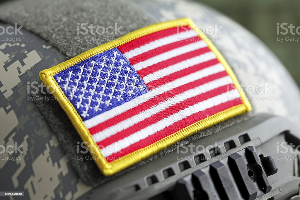 USA flag on helmet stock photo