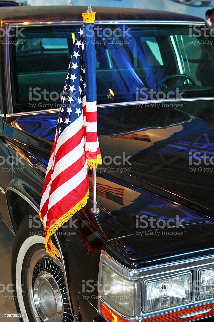 US flag on limo royalty-free stock photo