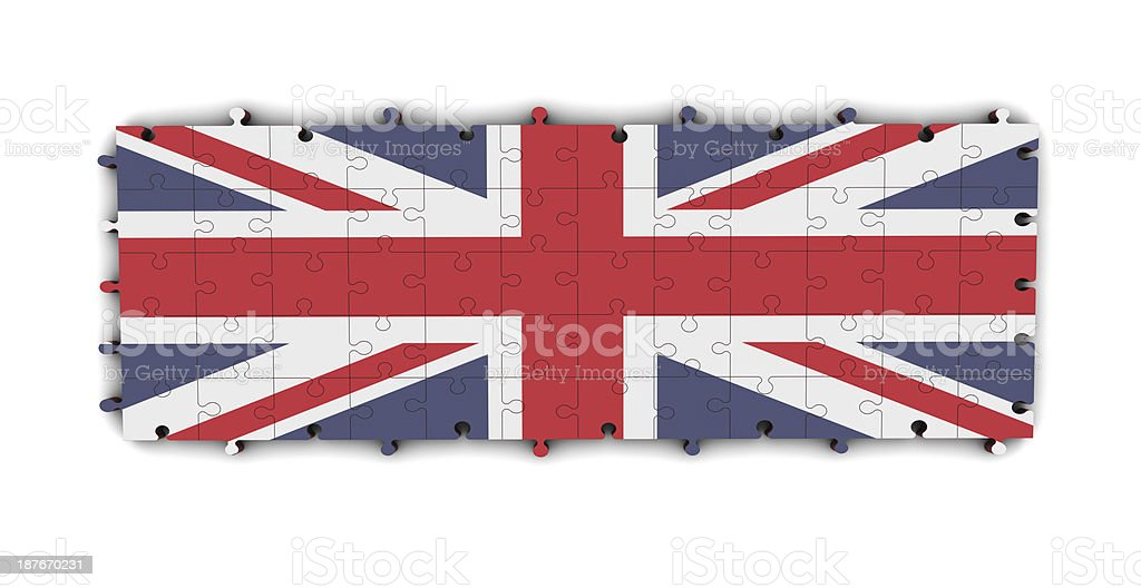 UK Flag on Puzzle royalty-free stock photo