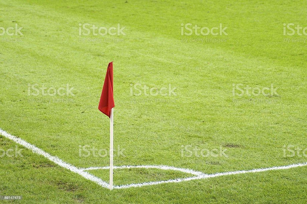 Flag On Soccer Field stock photo
