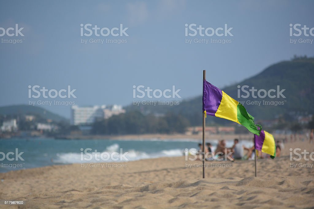 Flag on the Paradise Beach in coast, Vietnam stock photo