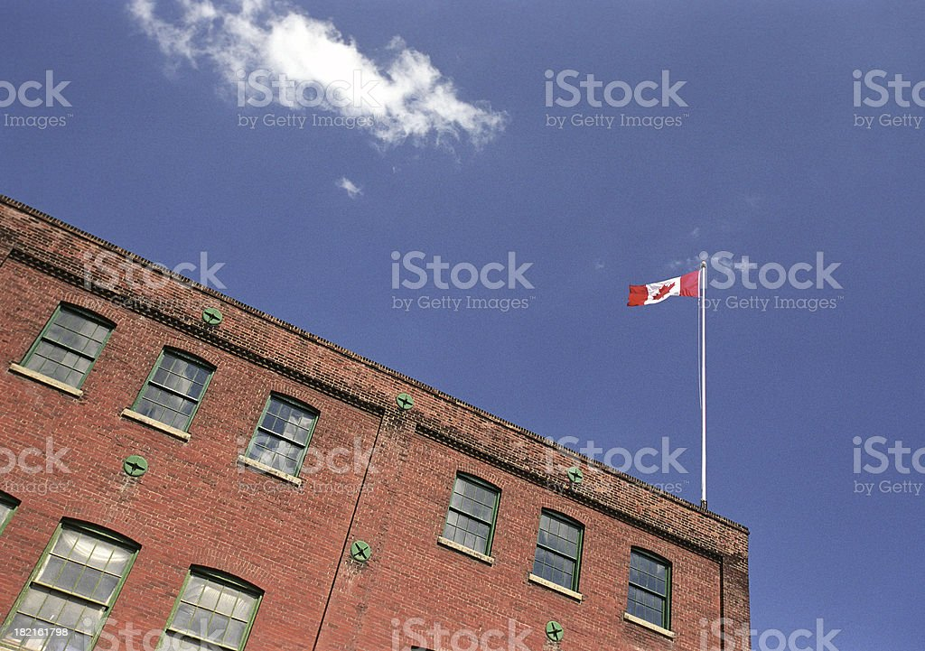 flag on the roof royalty-free stock photo