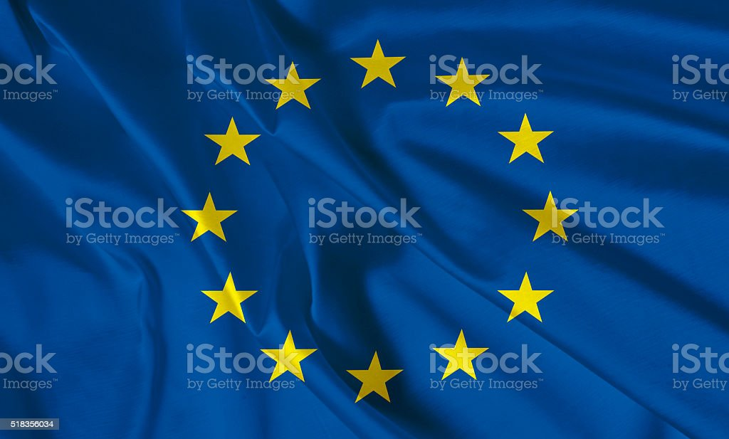 EU flag on the white background with space for text stock photo