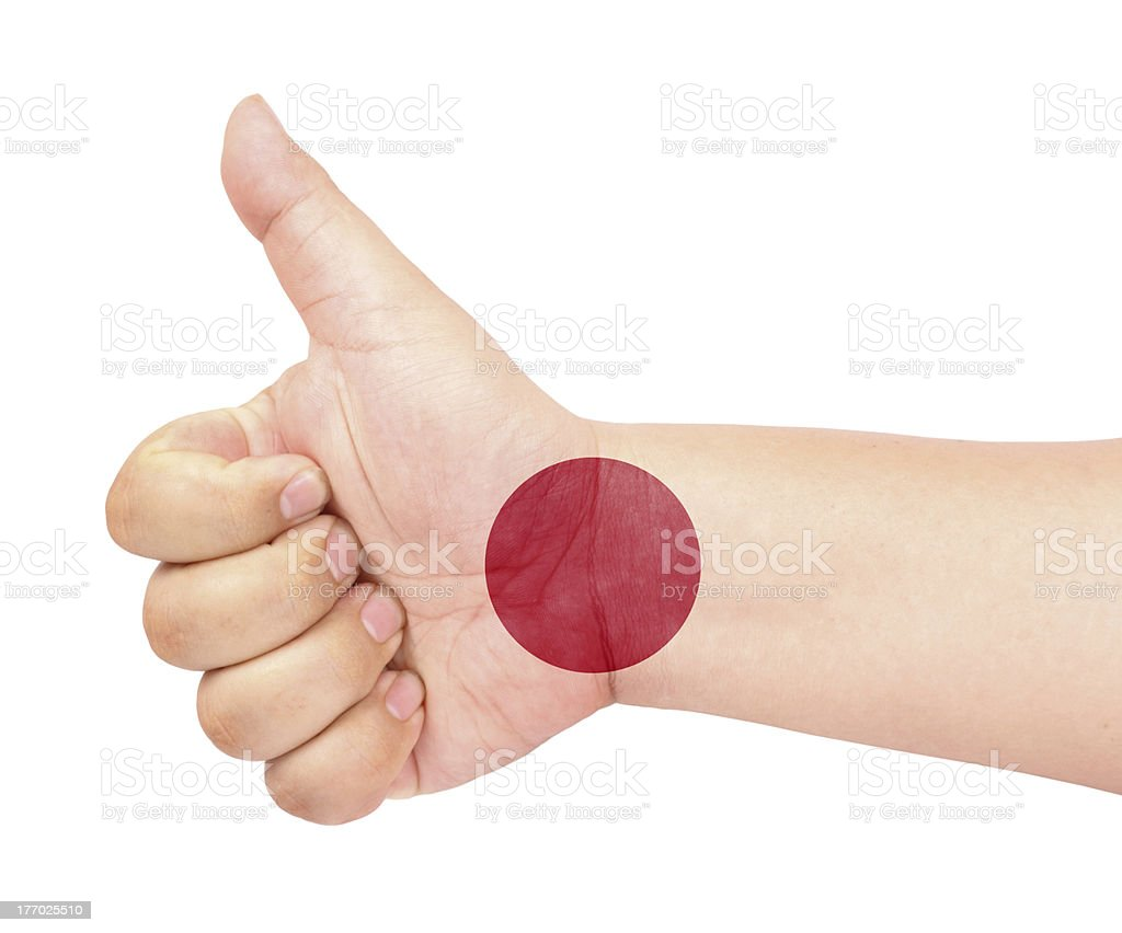 flag on thumb up gesture  like icon royalty-free stock photo