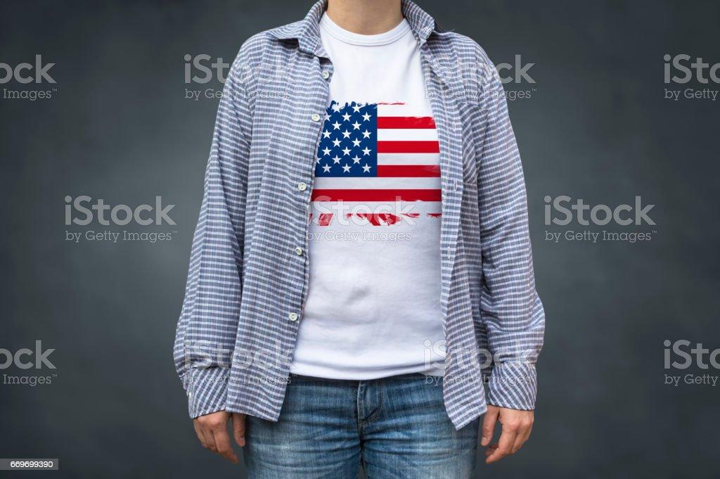 USA flag on T-shirt stock photo