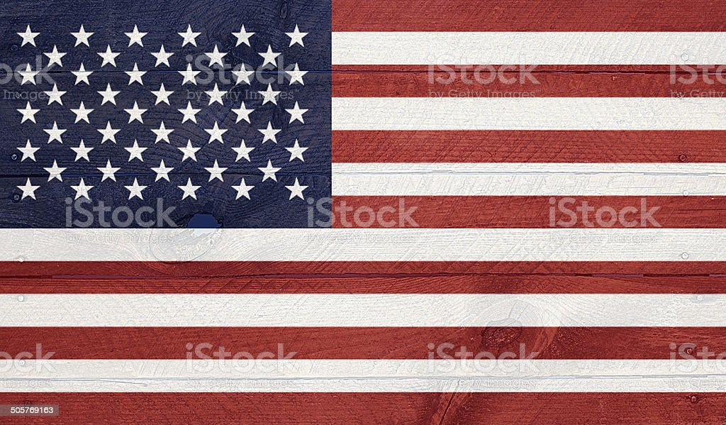 USA flag on wood boards with nails stock photo