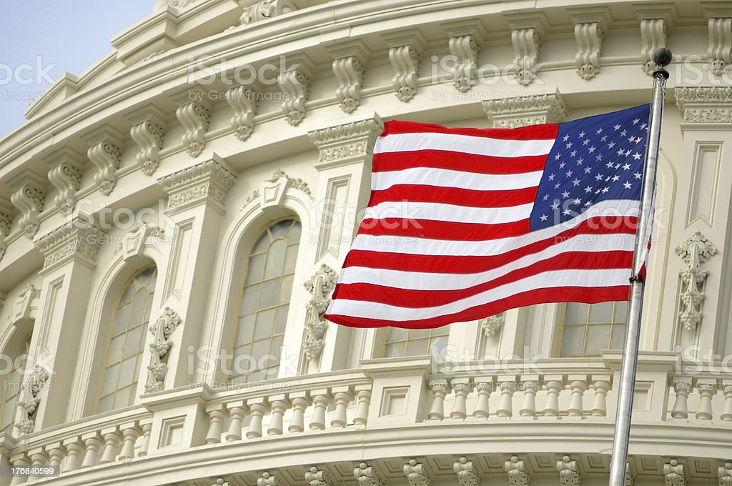 Flag over Capitol stock photo