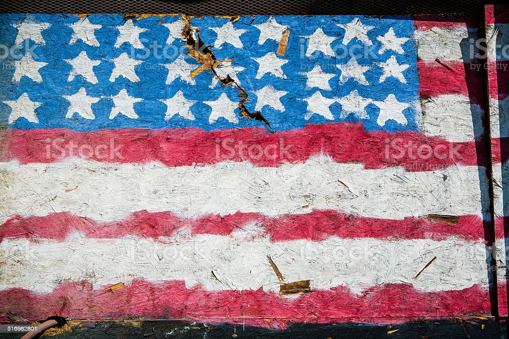 U.S. Flag Painted On A Boarded Window royalty-free stock photo