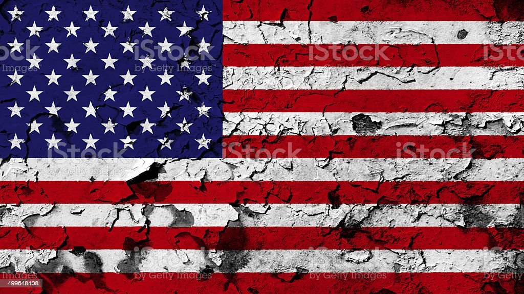 USA flag painted on cracked paint texture. stock photo