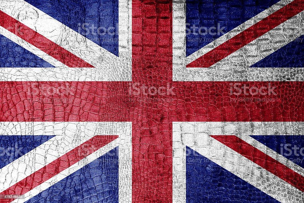 UK Flag painted on luxury crocodile texture royalty-free stock photo