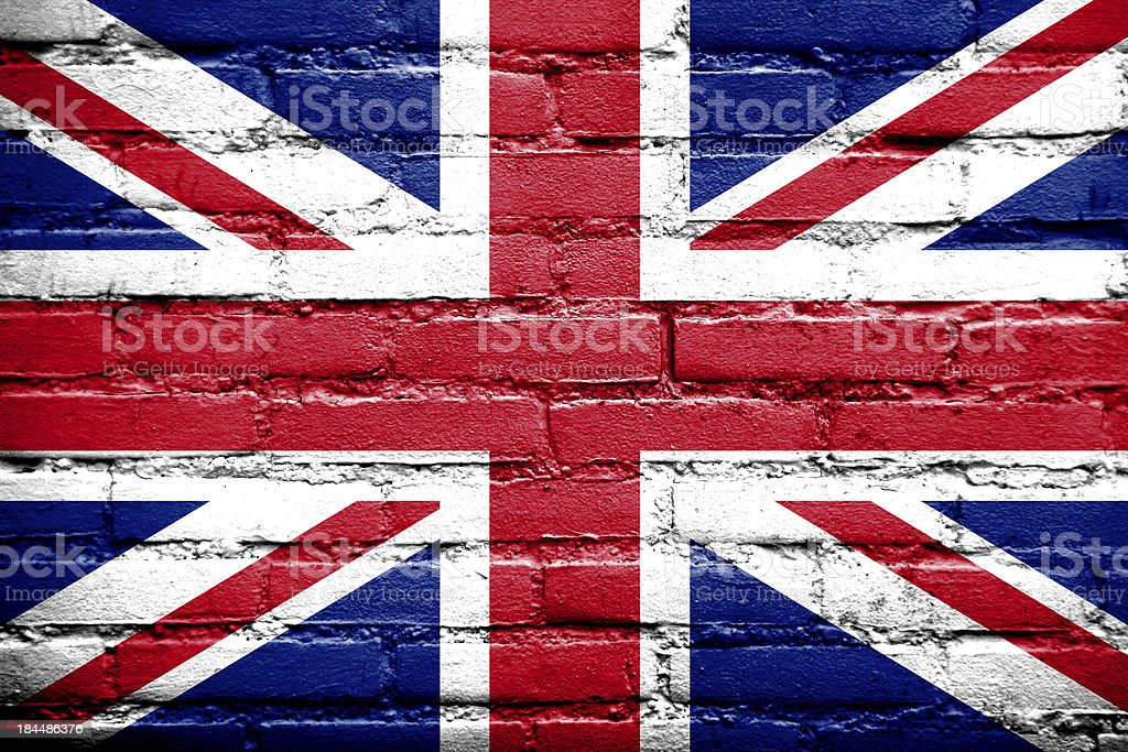 UK Flag painted on old brick wall royalty-free stock photo