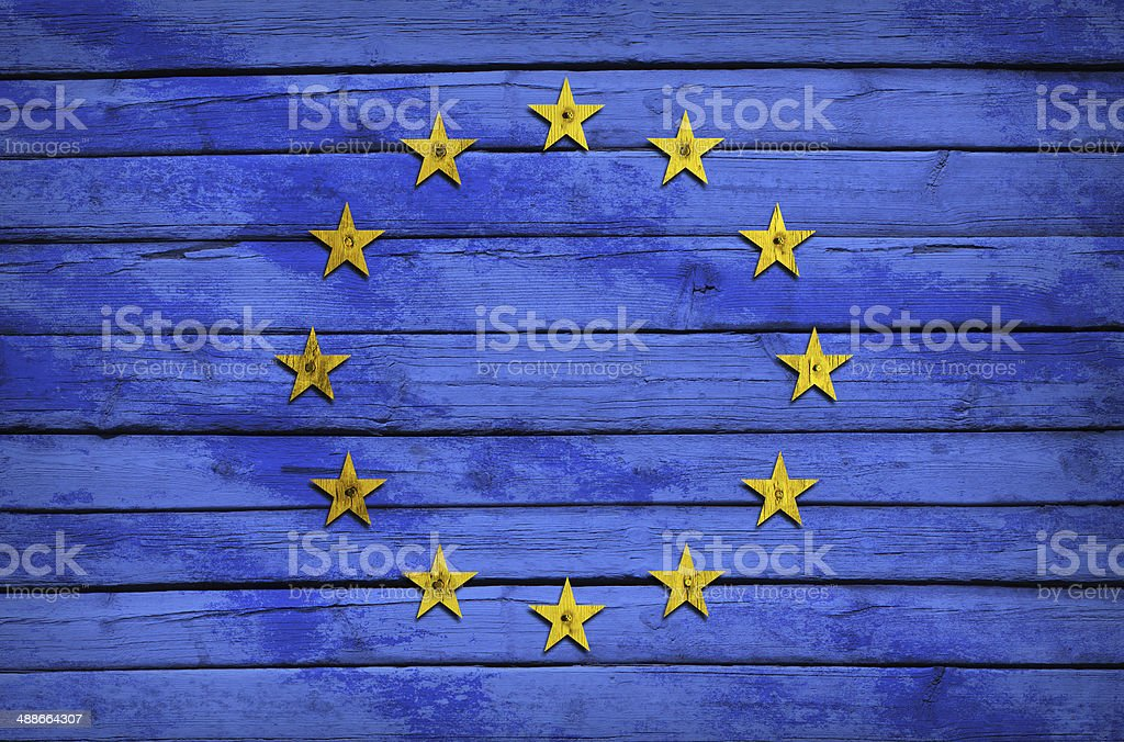 EU flag painted on wooden boards royalty-free stock photo