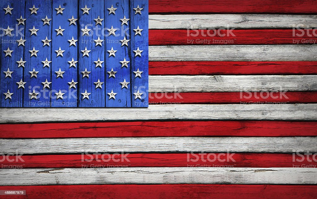 U.S. flag painted on wooden boards royalty-free stock photo