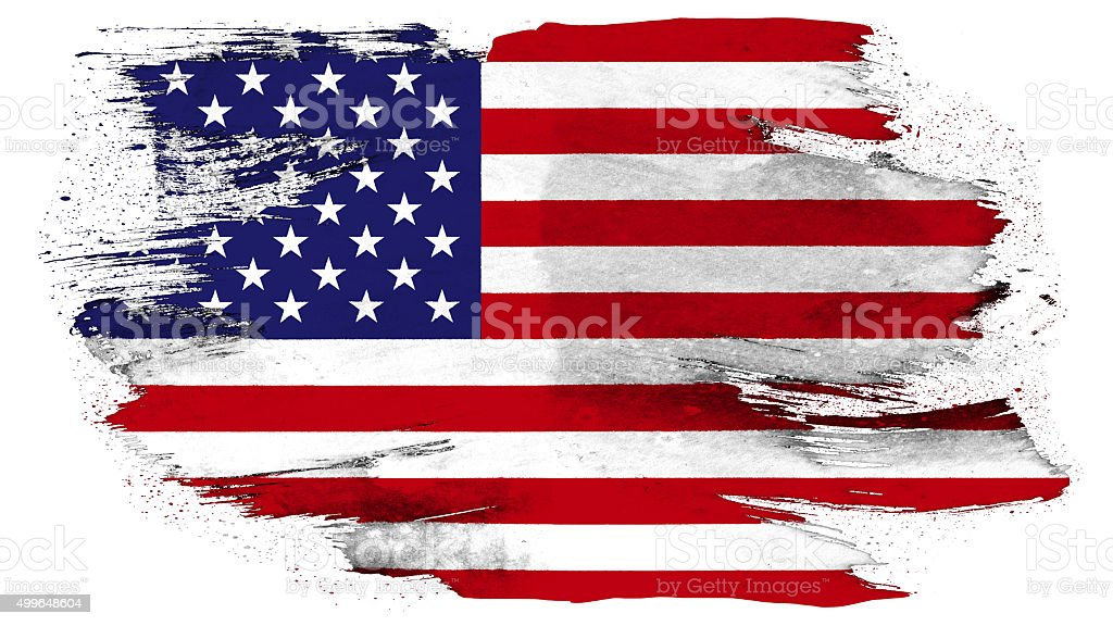 USA flag painted with brush on solid background stock photo