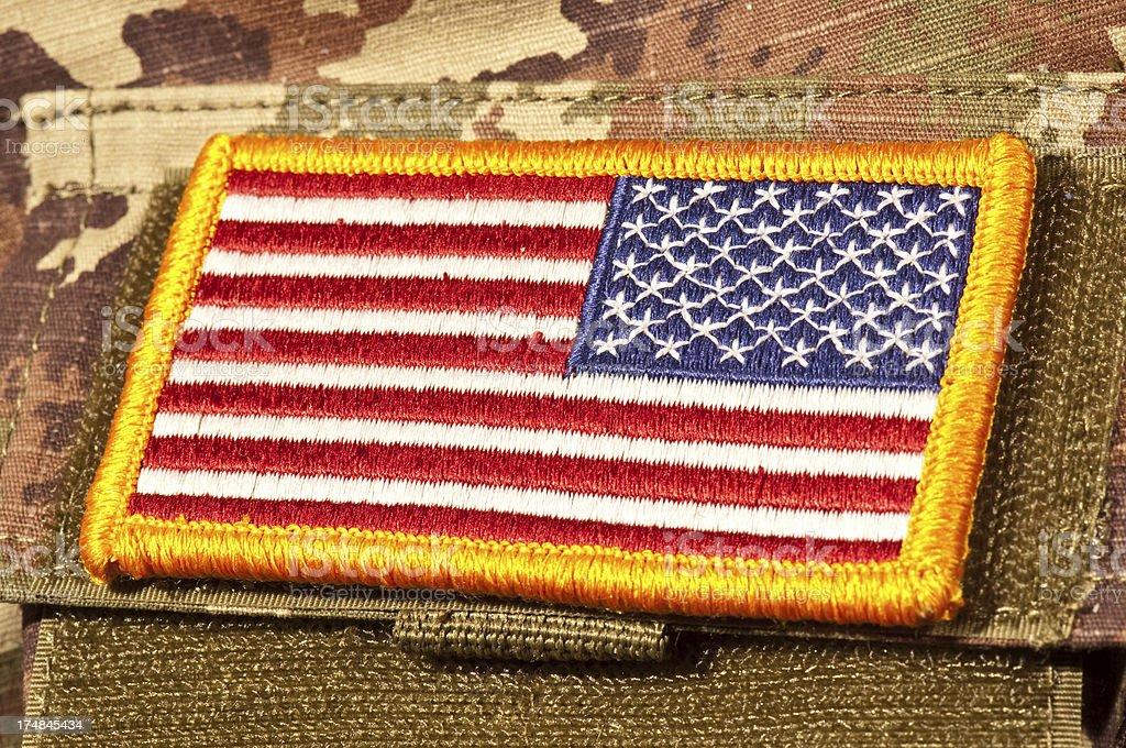USA Flag Patch Close-up stock photo