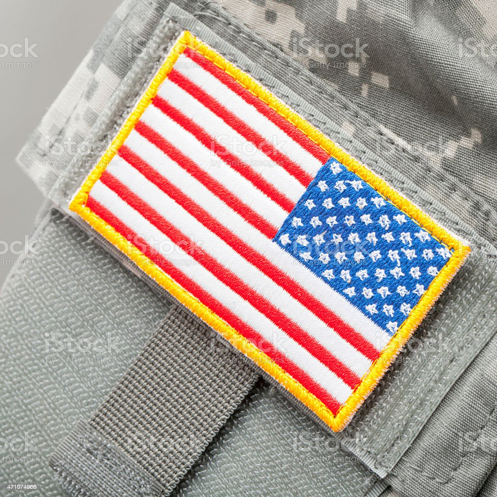 US flag patch on solder's uniform stock photo