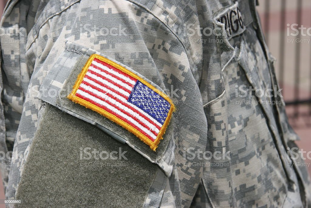 Flag Patch on Soldier Uniform stock photo