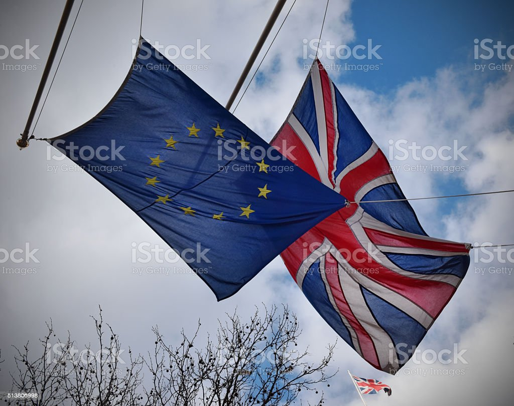 EU UK flag stock photo