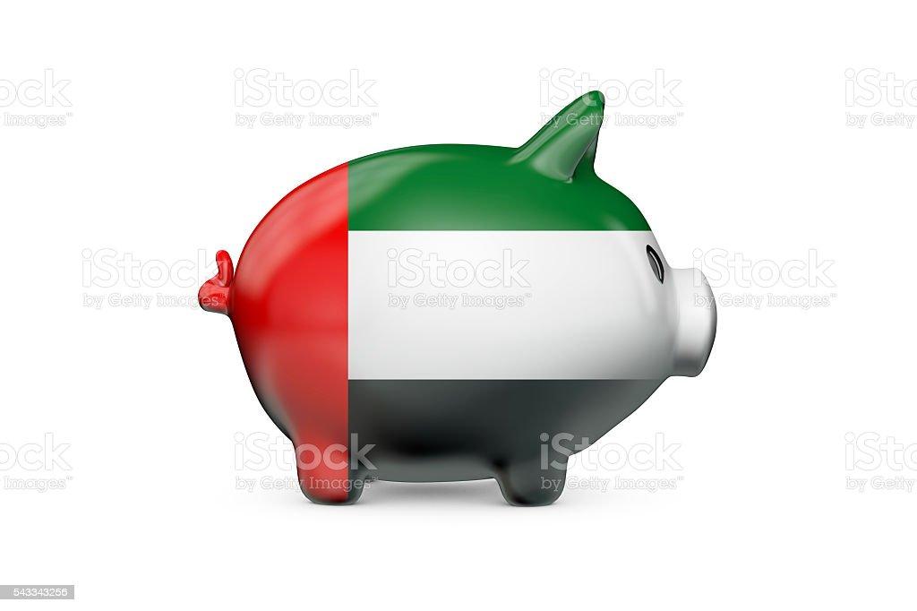 UAE flag piggy bank stock photo