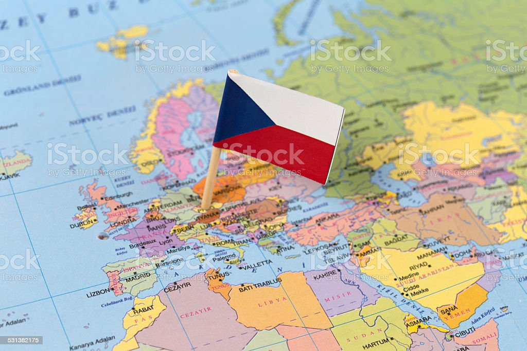 Flag Pinned on Map stock photo