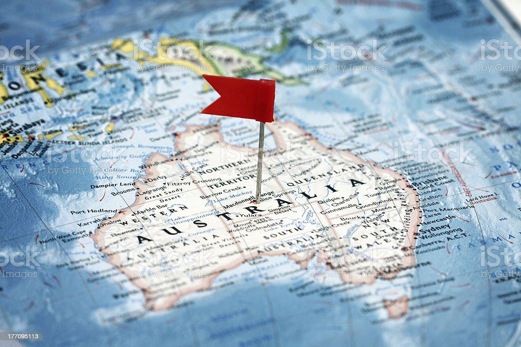 Flag  pointing  Australia stock photo