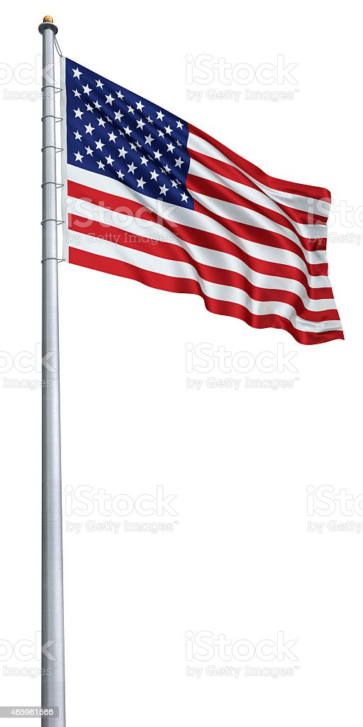 Flag pole with flag of the United States flying at the top stock photo
