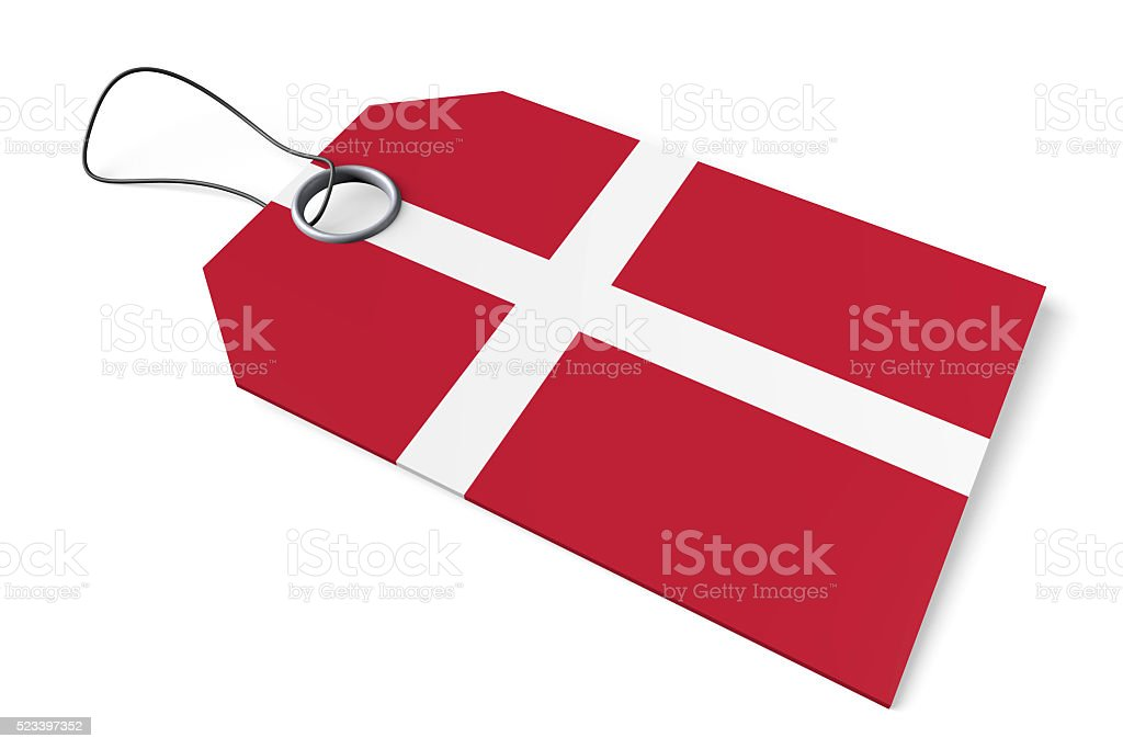 3D flag -  price tag - made in Denmark stock photo