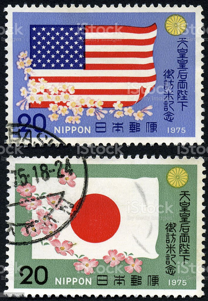 Flag Stamps - US and Japan royalty-free stock photo