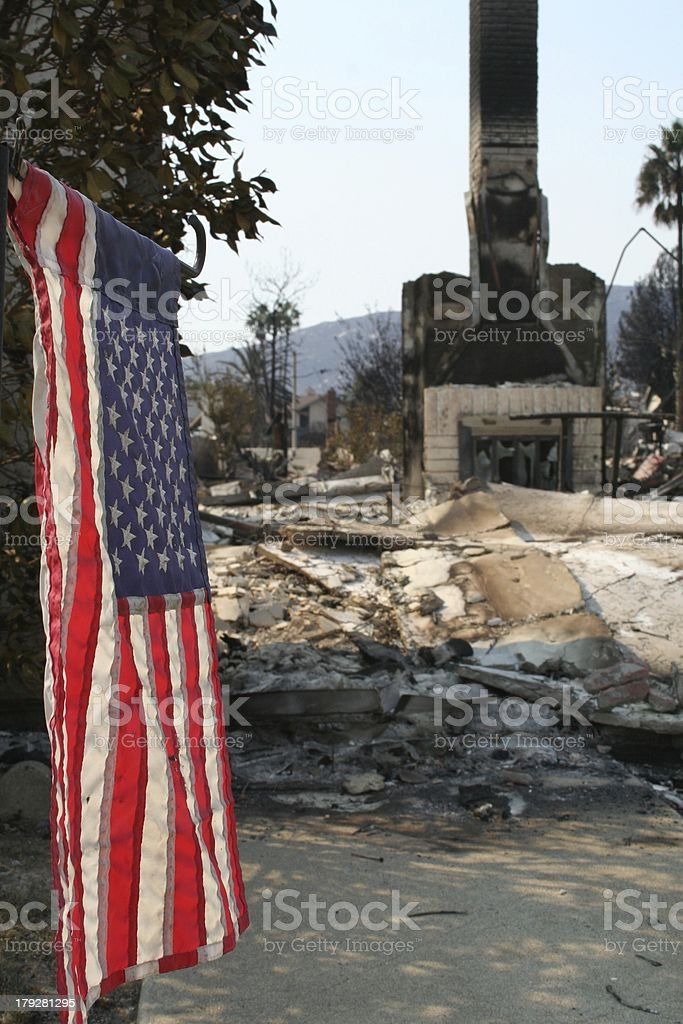Flag survives house fire royalty-free stock photo