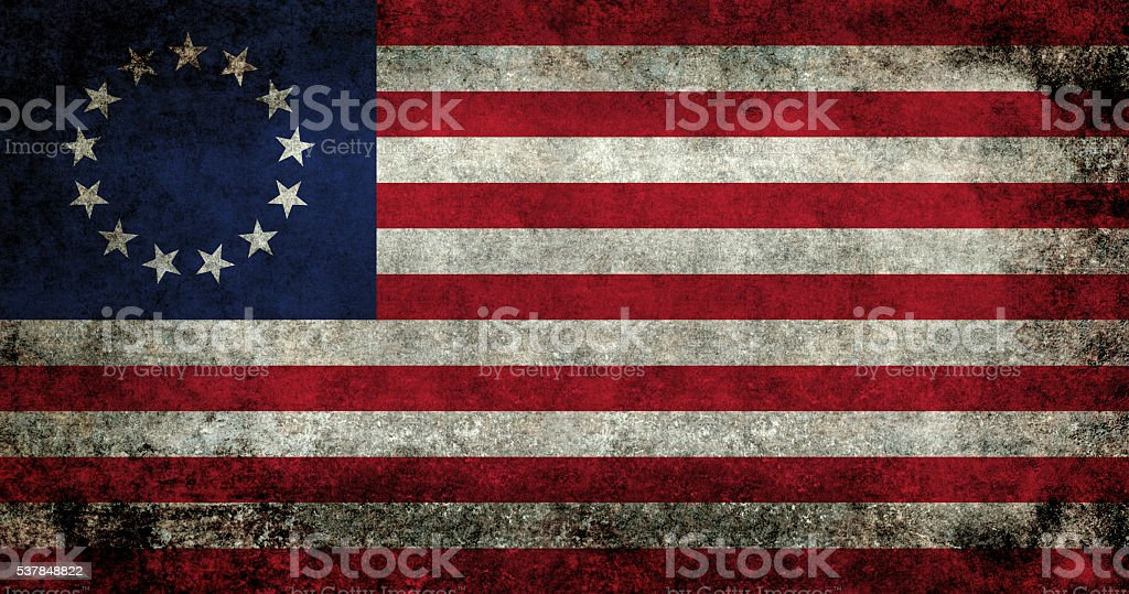 USA flag, the Betsy Ross version with grungy treatment stock photo