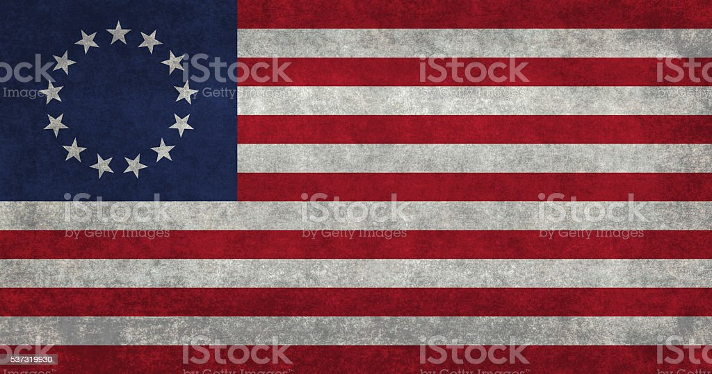 USA flag, the Betsy Ross version with vintage retro treatment stock photo