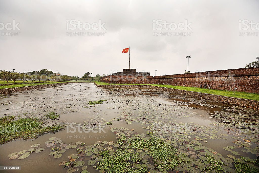 Flag Tower Imperial City Hue stock photo