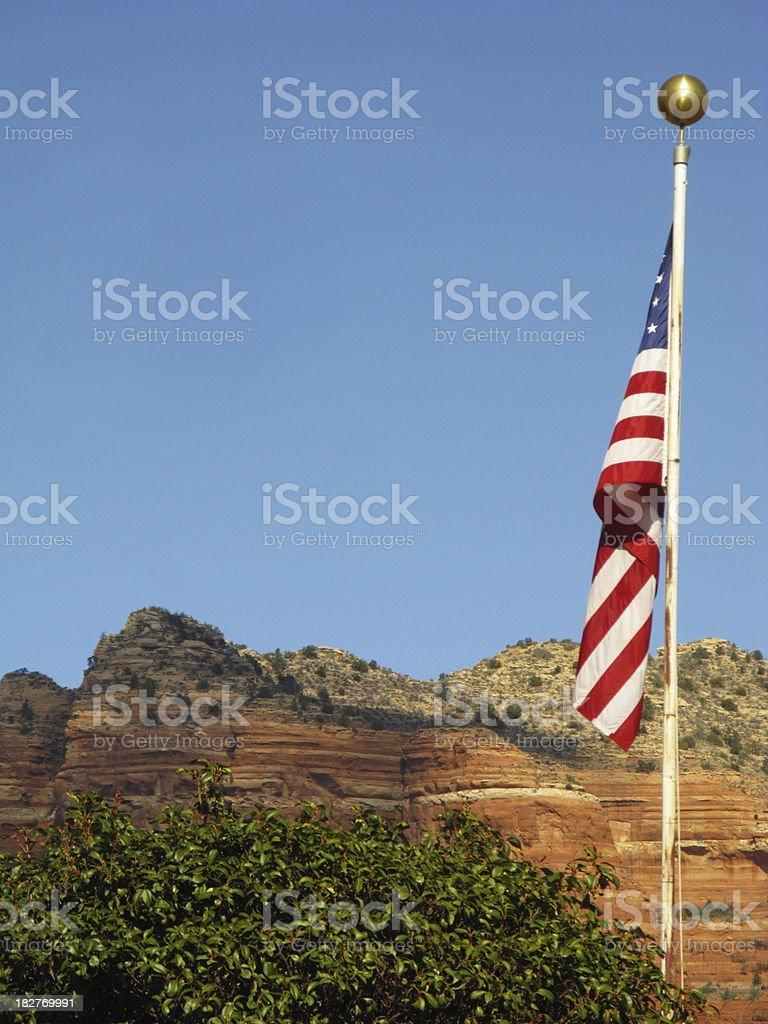 Flag United States Red Rock Sedona royalty-free stock photo