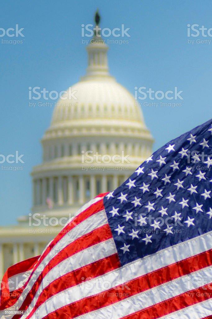 Flag & U.S. Capitol stock photo