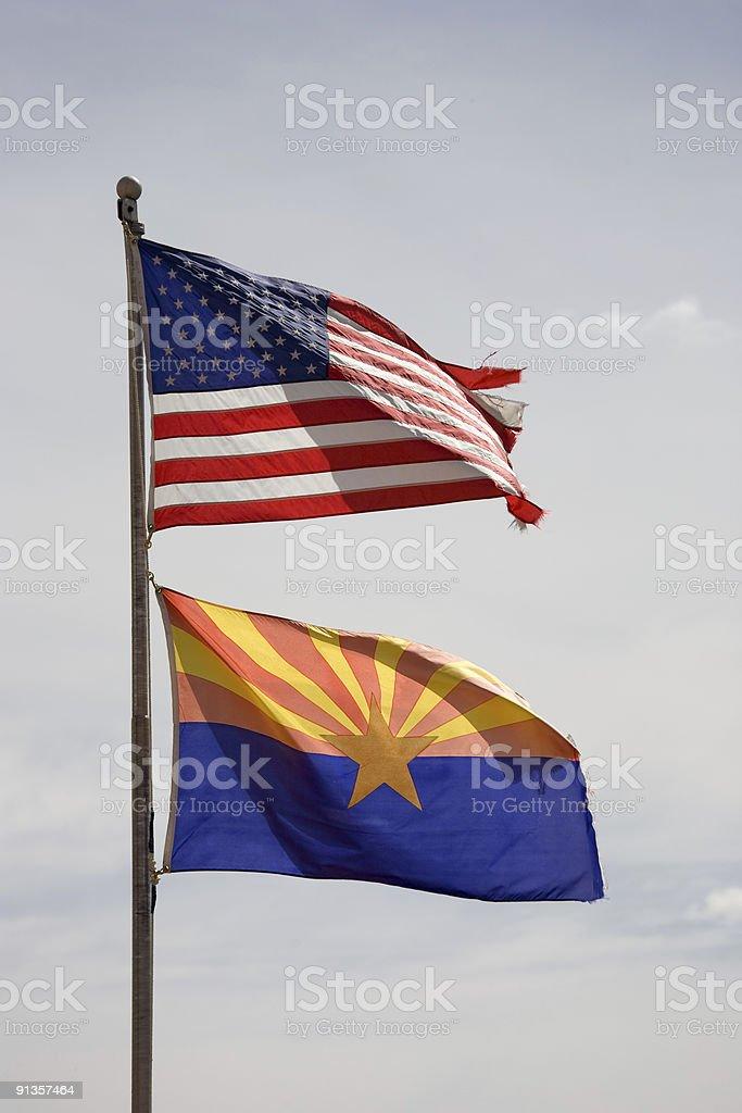 Flag USA and Arizona stock photo