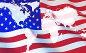 Flag USA and world map