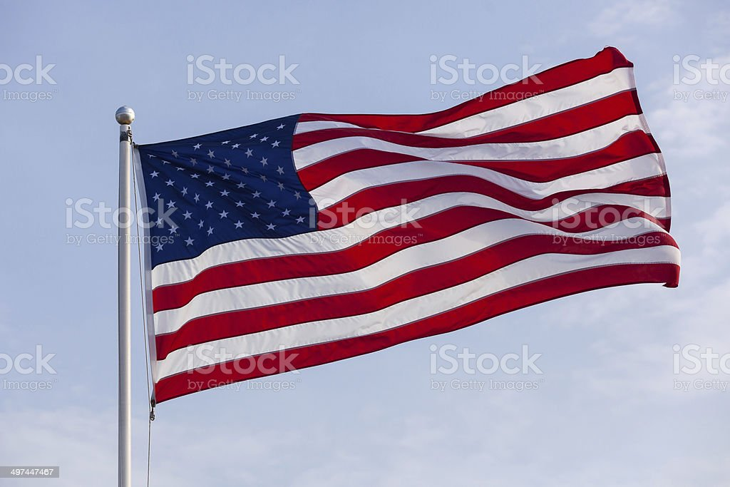 U.S. Flag Waiving in the Breeze stock photo