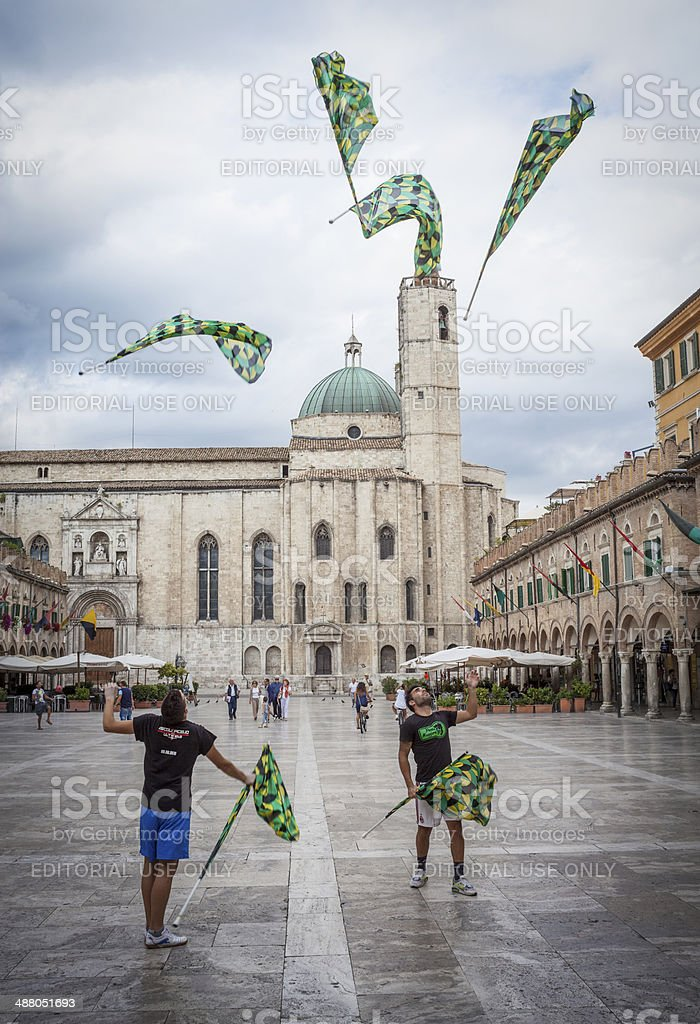 Flag Wavers In Duomo Square stock photo