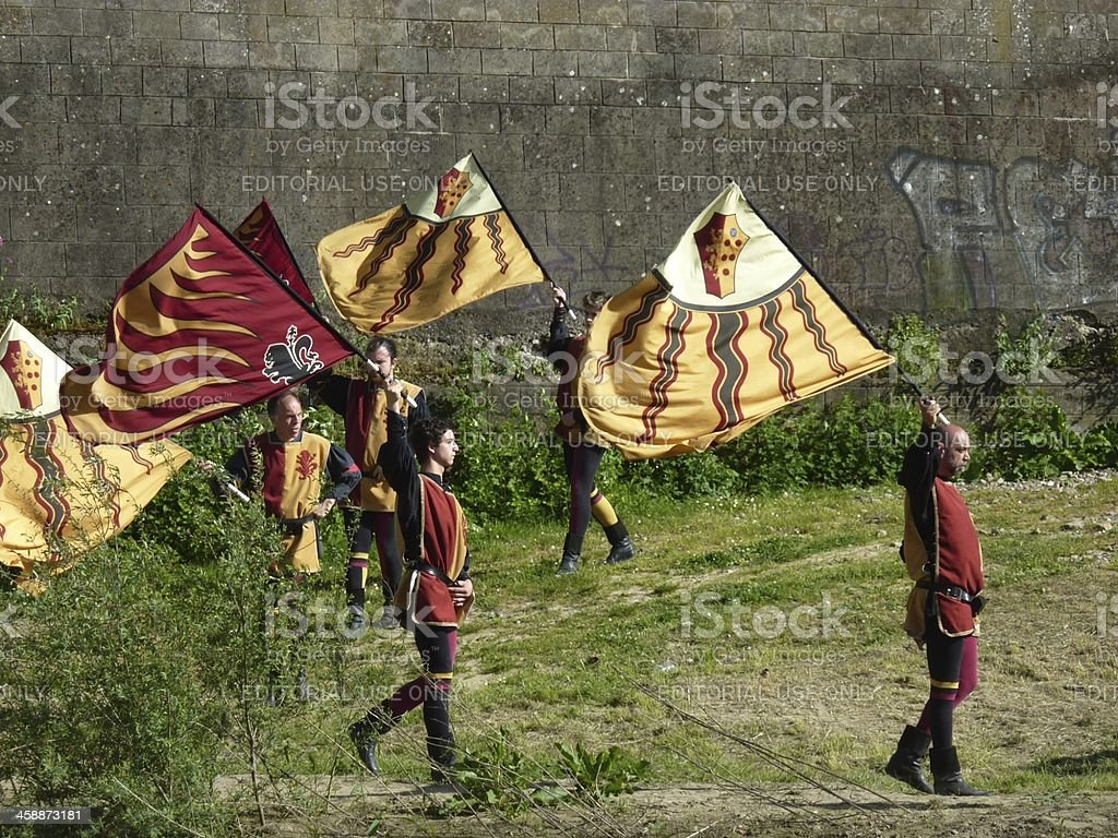 Flag wavers in traditional customes, Florence Italy stock photo