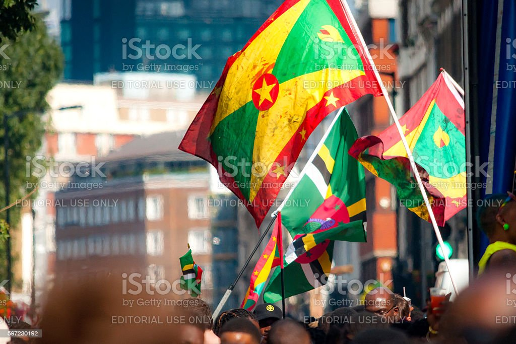 Flag waving at Notting Hill parade in London, England, UK stock photo