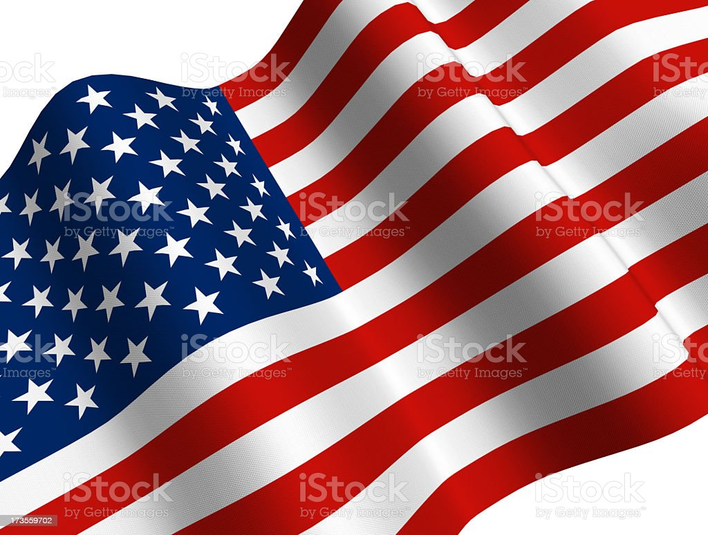A CGI US flag waving on a white background royalty-free stock photo