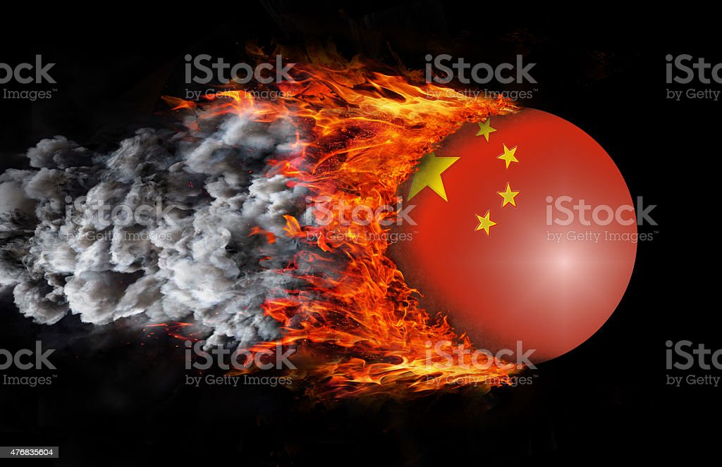 Flag with a trail of fire and smoke - China stock photo